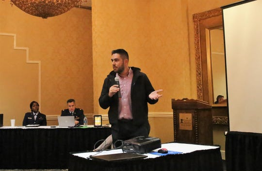 Las Cruces City Councilor Gabriel Vasquez speaks during a public hearing about a U.S. Air Force proposal to expand F-16 training flights over southern New Mexico. The hearing took place at the Ramada Las Cruces Hotel on Thursday, December 5, 2019.