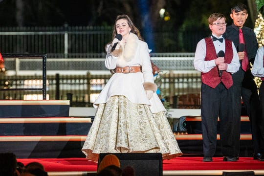 "Winner of ""The Voice"" season 15 singer Chevel Shepherd performs at the 2019 National Christmas Tree Lighting Ceremony in Washington."