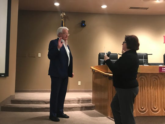 Ty Peabody is sworn in as mayor of Indian Wells by City Clerk Anna Grandys during the City Council meeting on Thursday, December 5, 2019. Mayor is a position rotated annually among council members in Indian Wells.