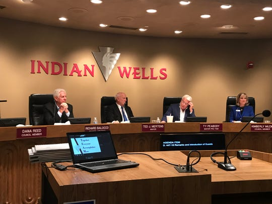 Indian Wells City Council members, from left, Richard Balocco, Ted Mertens, Ty Peabody and Kimberly Muzik during a meeting on Thursday, Dec. 5, 2019.