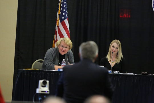 Councilwoman Lisa Middleton, left, and Mayor Pro Tem Christy Holstege listen during a special meeting regarding the downtown arena at the Palm Springs Convention Center in Palm Springs, Calif., on December 5, 2019.