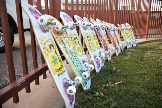 Thirteen elementary-school students at Gateway School received these skateboards, purchased as Skateboard Angels donations from Cowtown Skateboards, on Dec. 5, 2019.