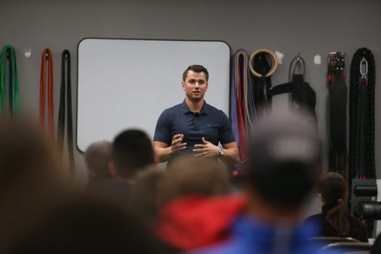 Joe Panik speaks to athletes and their families about the importance of nutrition and strength training to achieving success in athletics while at Kings of Fitness on December 5 2019.