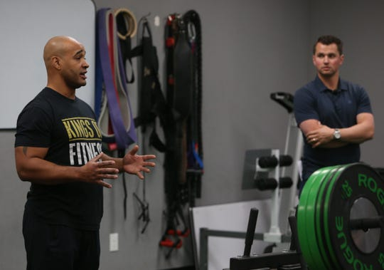 Kiel King and Joe Panik speak to athletes and their families at Kings of Fitness on December 5 2019. Panik, a regular at the training facility gave a lecture on the importance of strength training for athletes.