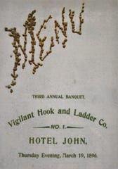 This is a banquet invitation of the Vigilant Hook & Ladder Company held at the Hotel John in Chambersburg on March 19th, 1896.