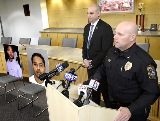 West Manchester Township Police Chief John Snyder is joined by York County District Attorney Dave Sunday, left, Friday, Dec. 6, 2019, during a press conference regarding a second suspect in Monday's fatal Regal Cinema shooting. Bill Kalina photo