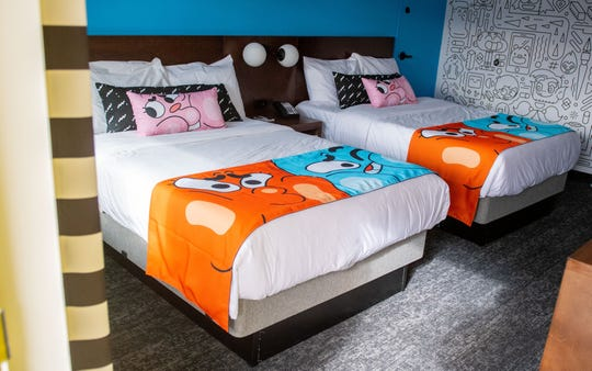"This is the ""Gumball"" themed room at the Cartoon Network Hotel."