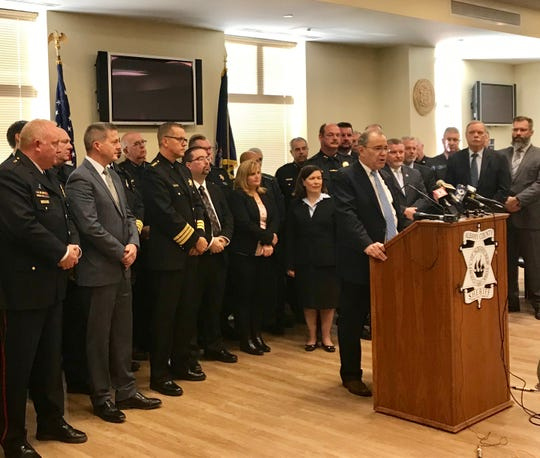 Schenectady County District Attorney Robert Carney talked about his concerns with a new law to end cash bail in most cases during a news conference in Albany on Nov. 21, 2019.