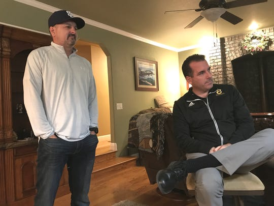 Brothers Tim, left, and Kevin Strohmayer listen to their mother, Connie, tell stories about their father, John Strohmayer, who died on Thanksgiving, Nov. 28, 2019, at the age of 73. John Strohmayer was a Major League Baseball pitcher who later coached and taught at Central Valley High School, and became the superintendent for the Gateway Unified School District.