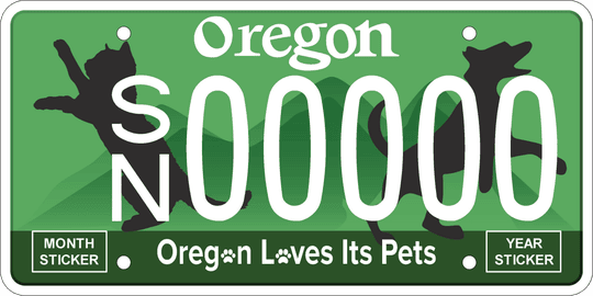 An example of a new Oregon license plate being pitched by the Willamette Animal Guild.