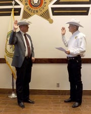 Recently-retired Texas Ranger Nick Hanna, left, is sworn in as Chief Deputy by Tom Green County Sheriff David Jones on Dec. 2 in San Angelo.