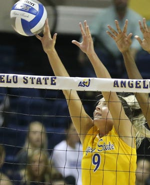 Angelo State University's Kailyn Gilbreath is shown during a match earlier in the 2019 season. Gilbreath had 15 kills in Thursday's win against West Texas A&M at the South Central Regional in Denver, Colorado.