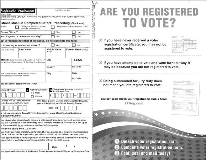 The Tom Green County Election office is receiving inquiries about applications that are being mailed to voters from Engage Texas and other groups, which have no affiliation with county government.