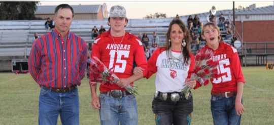 Dillon Brown (right) and his family on Parents Night in Rocksprings.