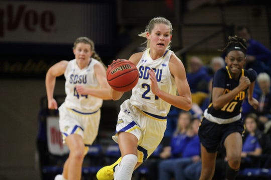 Tylee Irwin dribbles up the floor for SDSU during Thursday's win over Coppin State