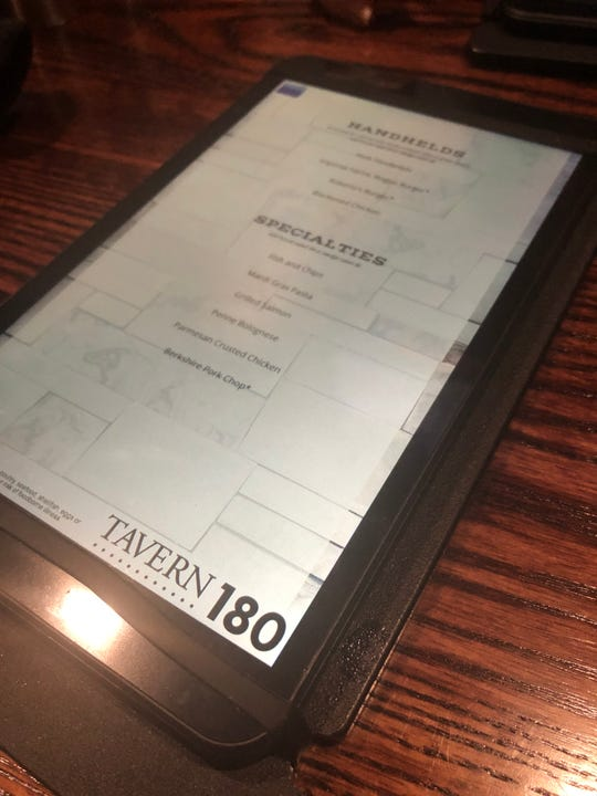 The electronic menu at Tavern 180.
