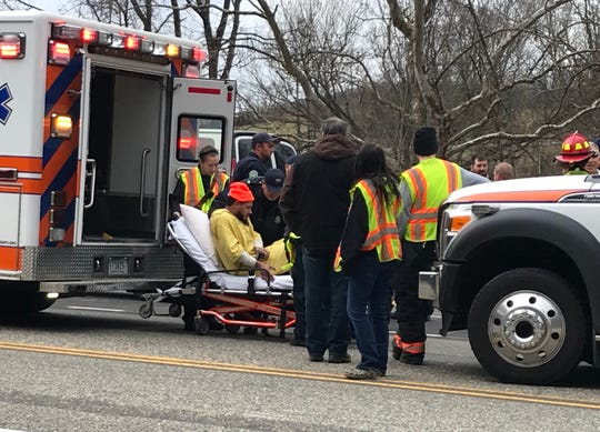 Virginia State Police said five people, three inmates and two officers, were injured after a bus with the Virginia Department of Corrections was struck Friday morning in Greenville.