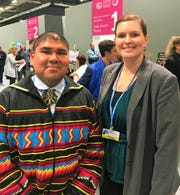 Rev. Chebon Kernell, a Native American climate activist of the Seminole tribe and the Executive Director of the Native American Comprehensive Plan of the United Methodist Church with Cara Fleischer.
