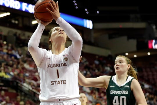 Florida State Seminoles center River Baldwin (1) shoots for two. The Florida State Seminoles beat the Michigan State Spartans 78-68 on Thursday, Dec. 5, 2019.