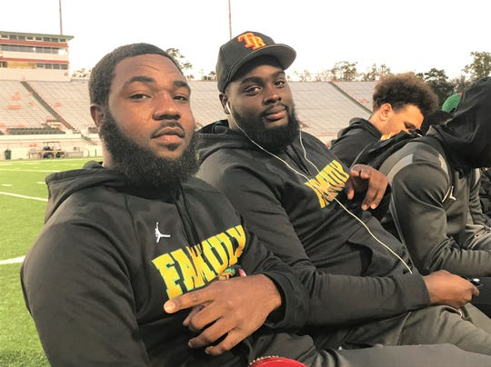 FAMU linebacker Doyle Grimes (left) and defensive lineman De'Montre Moore at the year-end celebration at Bragg Memorial Stadium on Thursday, Dec. 5, 2019.
