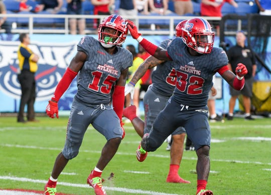 Florida Atlantic safety Teja Young (32) could see increased snaps against UAB in Saturday's Conference USA Championship Game.