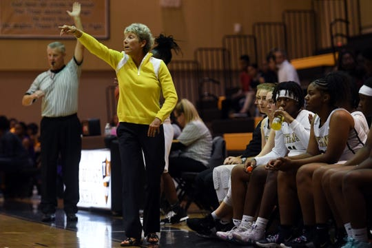 Treasure Coast High School head girls basketball coach Robin Potera-Haskins shouts directions from the bench on Thursday, Dec. 5, 2019, during a District 9-7A game against Fort Pierce Central in Port St. Lucie. Treasure Coast won 71-24.