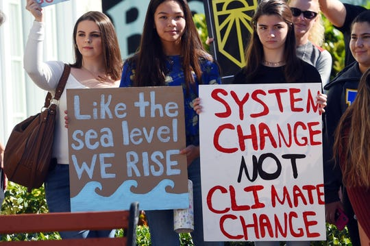 Roughly 100 community members gathered on Friday, Dec. 6, 2019, to take part in a rally to raise awareness about climate change organized by the Martin County Youth Climate Strike in Stuart. Six high schools students organized the event to express their concerns about the rising temperatures and sea levels that could devastate coastal Florida. The rally ended with a march to U.S. Congressman Brian Mast's office in downtown Stuart.