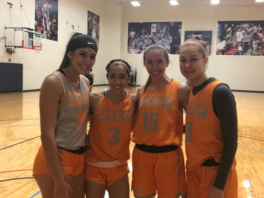 Fro left, Tatyana Modawar, Katia Gallegos, Avery Crouse and Arina Khlopkova are freshmen for the UTEP basketball team