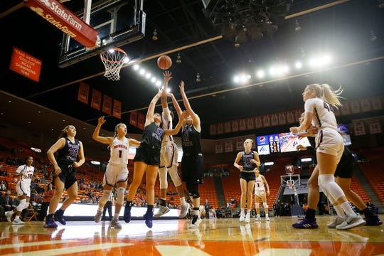 UTEP's Ariona Gill takes a shot against Weber State during the game Thursday, Dec. 5, at the Don Haskins Center in El Paso.