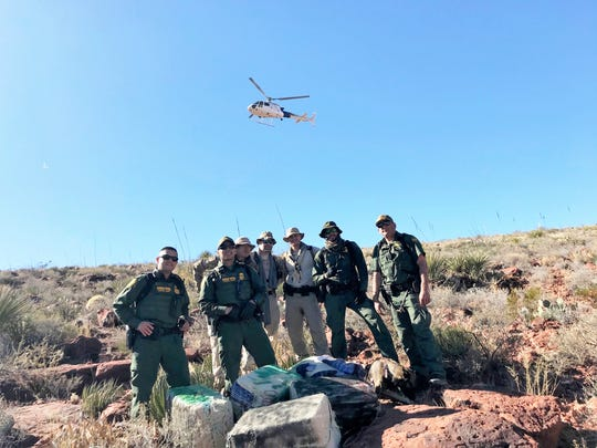 U.S. Border Patrol agents seized more than 700 pounds of marijuana in less than 24 hours on Sunday, Dec. 1, 2019, and Monday, Dec. 2, 2019, near Van Horn, Texas. Aircraft helped in the search.