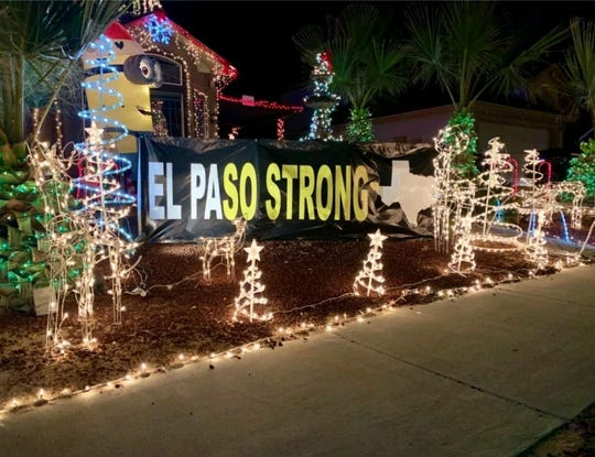 The Olguin family home in Horizon City pays tribute to the victims of the Walmart shooting with a holiday display.