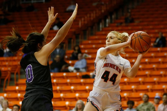 UTEP's Katarina Zec goes against Weber State defense during the game Thursday, Dec. 5, at the Don Haskins Center in El Paso.