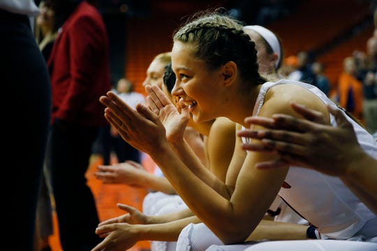 UTEP's  Arina Khlopkova waits to be called out onto the court for the game against Weber State Thursday, Dec. 5, at the Don Haskins Center in El Paso.