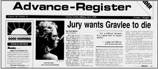 Front page of the Feb. 10-11, 1990 edition of the Tulare Advance-Register details the jury's recommendation of the death penalty for June Gravlee. The trial judge would modify the sentence to life in prison without the possibility for parole.