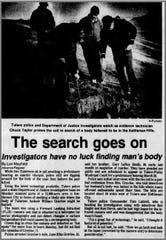 Article from Feb. 24, 1988 edition of the Tulare Advance-Register details the search for Andrew Gravlee, who was murdered by his wife and her brother in 1987.