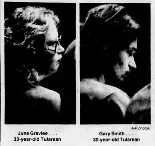 Photos from the Jan. 13, 1988 edition of the Tulare Advance-Register show June Gravlee and Gary Smith, who were charged with murder with the special allegation of financial gain in the case of Gravlee's husband, Andrew Gravlee.