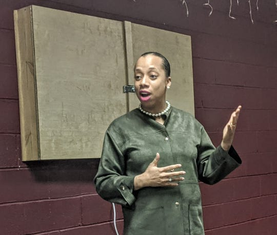 Asha Castleberry-Hernandez, of Elmsford, speaking at the Greenburgh Democratic Town Committee meeting on Dec. 5, 2019 at the Ardsley Community Center.