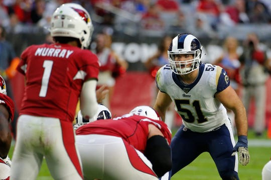 Los Angeles Rams linebacker Troy Reeder (51) during an NFL football game against the Arizona Cardinals, Sunday, Dec. 1, 2019, in Glendale, Ariz. (AP Photo/Rick Scuteri)