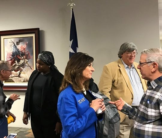 Republican congressional candidates speak with audience members after a Wichita Falls Tea party candidate forum at Red River Harley-Davidson in this Dec. 5, 2019, Times Record News file photo. Monique Worthy of Wichita Falls, second from left, and Elaine Hays of Amarillo, third from left, are running for the 13th Congressional District seat.