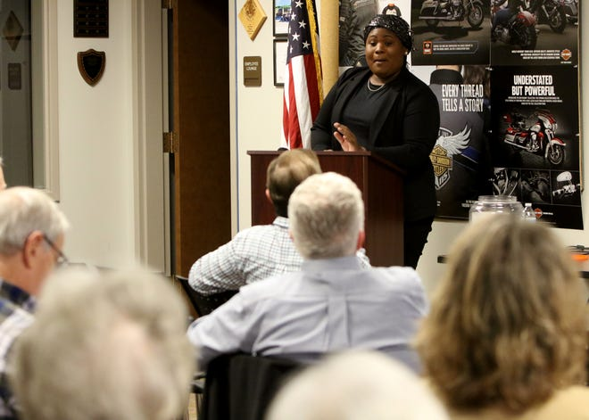 GOP candidate Monique Worthy speaks at the Wichita Falls Tea Party candidate forum for the U.S. House District 13 seat Thursday, Dec. 5, 2019, at the Red River Harley-Davidson.