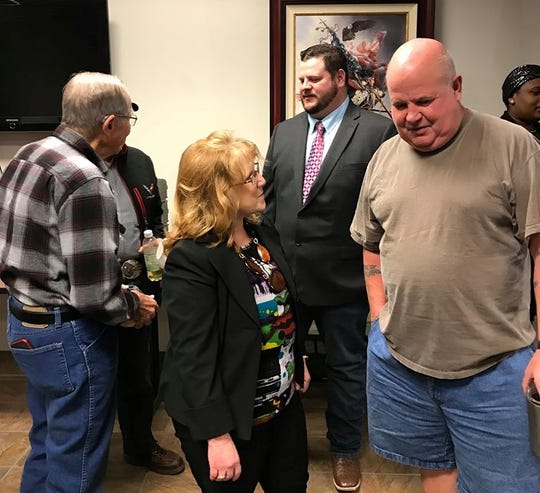 Republican congressional candidates speak with audience members after the Wichita Falls Tea party candidate forum Thursday night at Red River Harley-Davidson on Dec. 5, 2019. Republican congressional candidates Jamie Culley of Wichita Falls, foreground, second from left, and Vance Snider, background, third from left are running for the GOP nomination for the 13th Congressional District seat.
