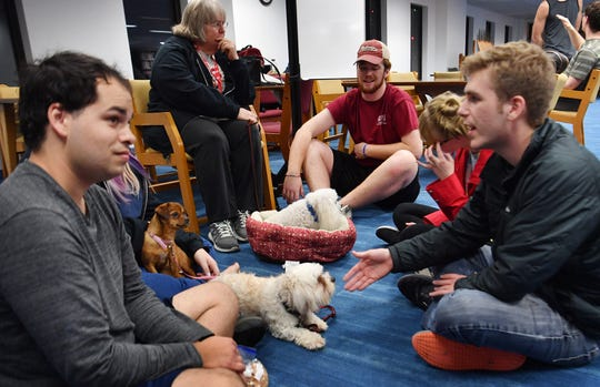 Several members of the Obedience Training Club of Wichita Falls brought their dogs up for Midwestern State University students to pet to help reduce the stress during finals Thursday at Moffett Library.