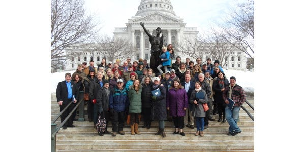 The 2019 Farm & Rural Lobby Day group on the steps near the Capitol earlier this year.