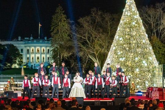 """The Voice"" Season 15 winner Chevel Shepherd performed at the 2019 National Christmas Tree Lighting Ceremony in Washington on Dec. 5, 2019"