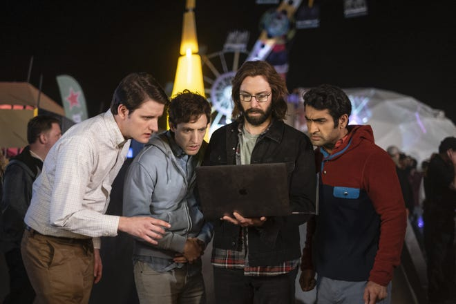 Jared (Zach Woods), left, Richard (Thomas Middleditch), Gilfoyle (Martin Starr) and Dinesh (Kumail Nanjiani) confront yet another potential tech disaster in HBO's 'Silicon Valley.'