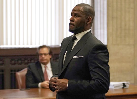 R. Kelly appears for a hearing in court in Chicago, on March 22, 2019.