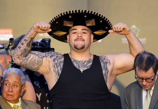 Andy Ruiz Jr. at weigh-ins for his fight vs. Anthony Joshua.