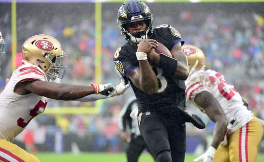 Lamar Jackson's 101 yards rushing against the 49ers has him 23 yards away from a 1,000-yard rushing season.