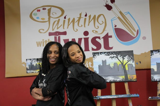 Donna Lewis (right) and Michelle Lewis (left) are co-owners of Painting with a Twist in Detroit.