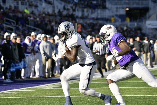Monmouth receiver Terrance Greene catches a 32-yard touchdown pass on the first play of the second quarter against James Madison on Dec. 7, 2019.